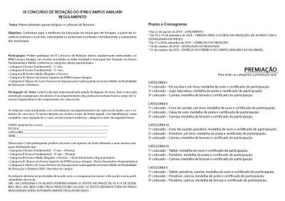 Regulamento concurso de redação