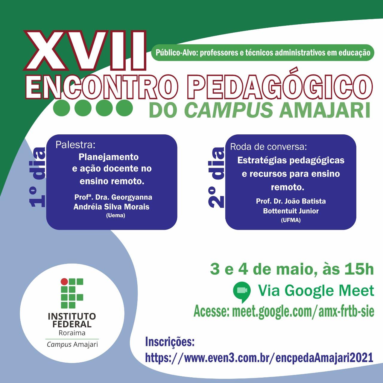 Encontro Pedagógico do Campus Amajari vai discutir estratégias pedagógicas para o ensino remoto